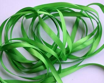 "1/4"" Satin Ribbon - Apple Green - 10 yards"