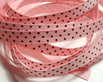 "3/8"" Grosgrain Ribbon Swiss Dots - Light Pink with Brown dots - 5 yards"
