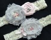 Bridal Garter Set, Garter, Pearl Garter, Wedding Garter Belt, Garter Set,Vintage Inspired, Ivory and Custom Color