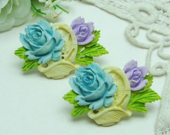 2 Pcs Big Beautiful Rose Cabochon Colourful-Hand Painted(FCN-1212BP)