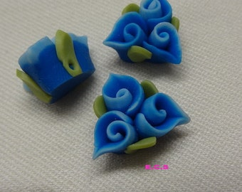 4pcs unique fimo flower,Deep Blue