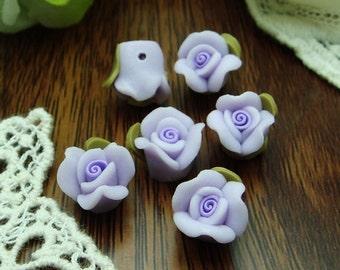 6 pcs Beautiful Fimo Rose Flower 12 mm, Purple (WP10-02)