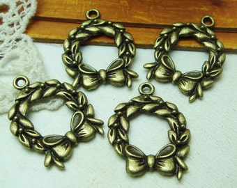 10pcs Antique Brass Bowknot Pendant Charm,Nickel Free (20X26MM)