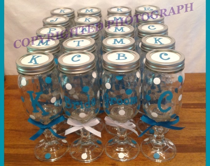20 Personalized REDNECK WINE GLASSES Bridal Party Bride Bridesmaids Bachelorette Wedding Polka Dots