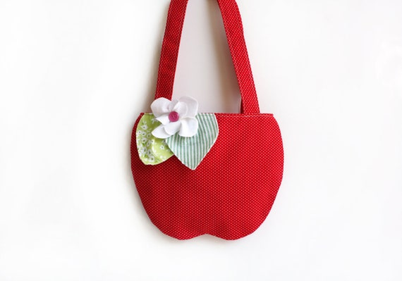 Red Apple Purse Bag, Children's Accessories, Girl's Tote Bag, Gift For Kids, Polk Dots