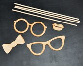 Bow Tie and Lips Photo Props Set of 4 DIY Kit