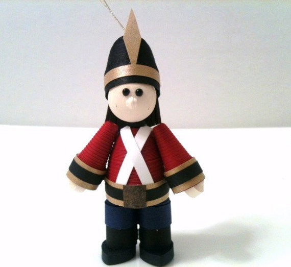 Toy Soldier Christmas Ornament Quilled Paper Single in Crimson Red
