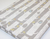 Organic Baby Blanket - Tree Stripes in Shroom from Birch 100% Organic Cotton Fabric with Ivory Minky Dot (30 X 32)