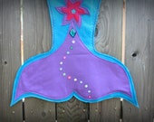 Magical Mermaid Tail Turquoise tail with Purple and Hot Pink flowers adorned with jewels. Matching Flower  Hair Clip