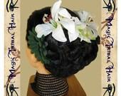 5 x FAERY HAIR FLOWER Reenactment & belly dance hair jewelry set Tribal Fusion garb Fantasy barrette Fairy fae hair adornments fascinator