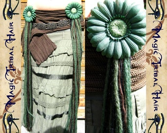 FANTASY Tribal Belly Dance Hip & hair Tassels FOREST WITCH costume accessory Fairy elf reenactment sca Hair jewelry magician yarn falls