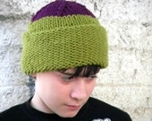 Hand Knit Hat in Olive Green and Purple
