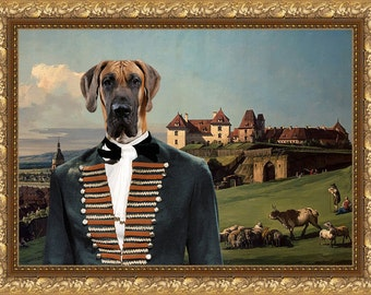 Great Dane Art CANVAS Print Fine Artwork of Nobility Dogs Dog Portrait Dog Painting Dog Art Dog Print