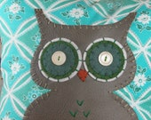 Teal Patterned Owl Pillow, Owl Pillow, Teal, Turquoise, Floral Pattern