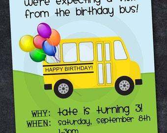 Party bus invitation etsy school bus invitation abc birthday retirement graduation or back to school party stopboris Choice Image