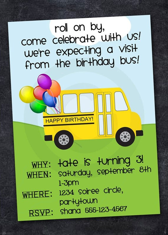 SCHOOL BUS Invitation ABC Birthday Retirement Graduation