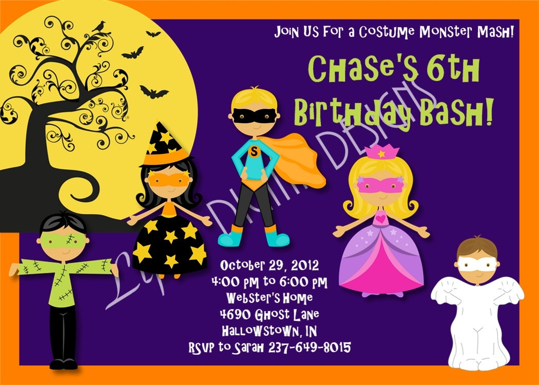 Halloween Birthday Party Invitations By LifesDigitalDesigns