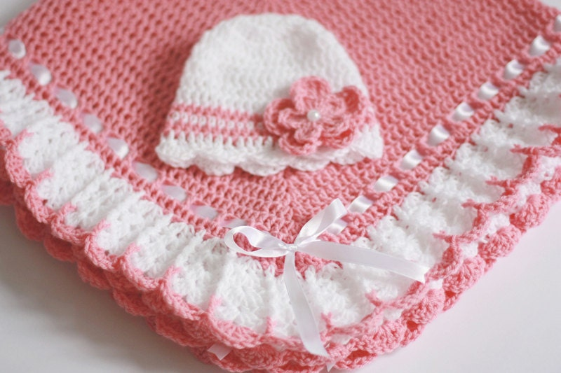 Crocheting A Baby Blanket : Crochet Baby Blanket / Afghan and Hat Pink White Christening Etsy