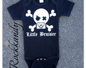 "Black Bodysuit or Shirt ""Little Bruiser"" With Pacifier Skull"
