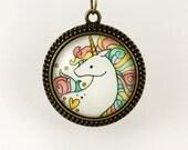 Rainbow Unicorn Necklace, Wearable Art Pendant, Bronze Jewelry