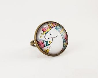 Unicorn Ring, Rainbow Fantasy Jewelry, Adjustable Ring