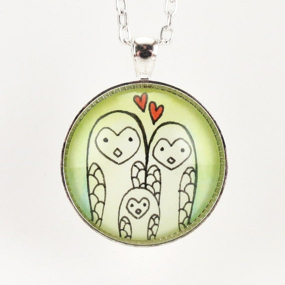Mothers Day Gift, Happy Owl Family Pendant, Mom Daddy and Baby Owl Necklace, Gifts For Mom