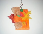Autumn Pumpkin And Leaves Wall Decor