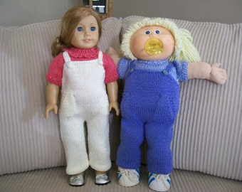 36) Knit Overalls with Pockets   15 Inch Dolls  18 Inch Dolls  American Girl  Cabbage Patch  Girlz   Gotz  Bitty Baby