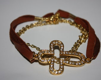 Leather wrap Bracelet with crystal cross
