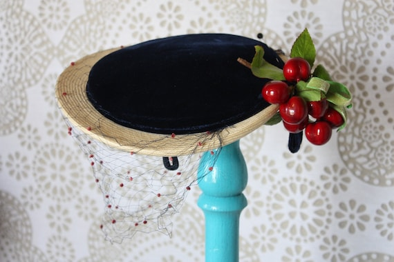 Vintage 1940's 50's Navy Blue and Cream Hat with Cherries Made by Phil Strann
