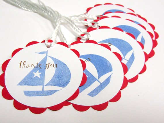 Party Favor Tags - Nautical - Treat Labels, Gift Tags, Thank you Tags - Set of 12 - Sail Boat