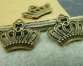 20pcs 18x20mm The Crown Antique Bronze Retro Pendant Charm For Jewelry Necklace Charms Pendants C3003