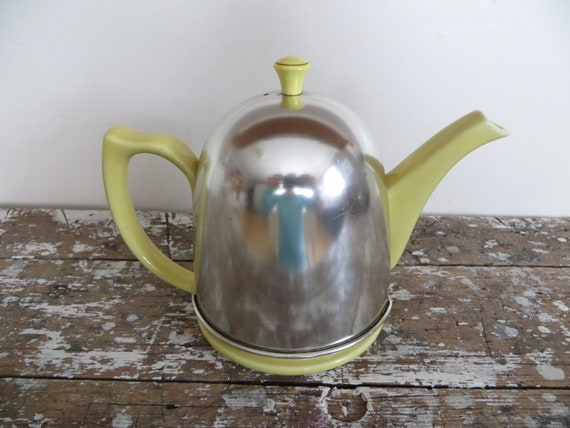 Vintage Tea Pot Tea Kettle Shabby Chic Decor Cottage Yellow Decor