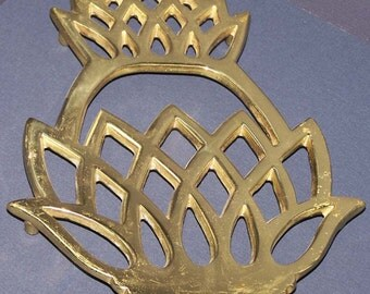 Solid Brass Pineapple Trivet Copyright 1976