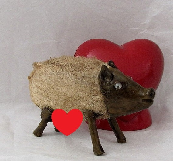 Vintage Handmade Small Pig  Showing off his Kibbles and Bits - He's an Ugly Spud and Proud of it