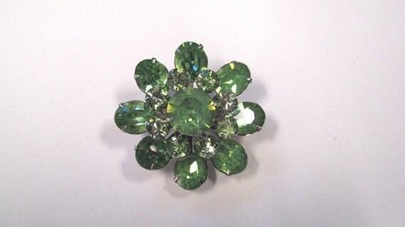 Vintage Coro Peridot Rhinestone Flower Brooch, Green Rhinestone Brooch, Silver tone metal, Wear or repurpose