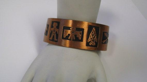 Vintage Copper Bell Cuff Bracelet Southwest Design, Native American Design