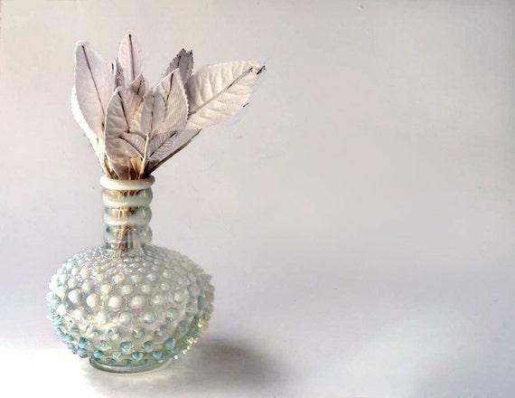 Fenton Hobnail opalescent milk glass vase, striped neck