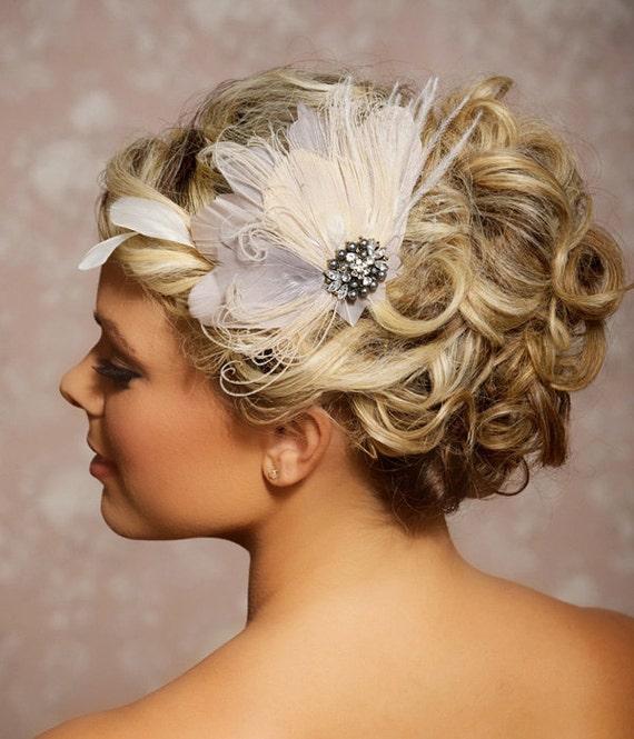 Grey Bridal Head Piece, Champagne Peacock Feather Headpiece, Wedding Hair Accessories, Gray Fascinator, Hair Clip - Ready to Ship - JILLIAN