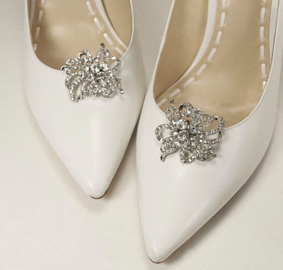 crystal bridal shoe clips, wedding shoe clips, shoe jewelry, rhinestone shoe embellishments, bridal shoes - LAURA