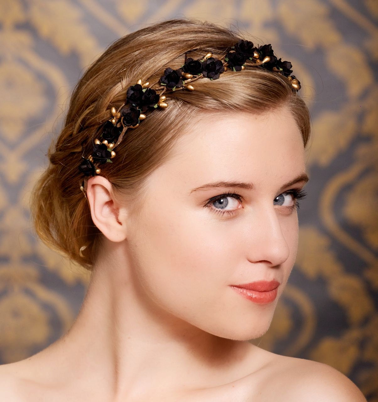 Black Wedding Hairstyles With Crown: Black Flower Hair Crown Bridal Hair Wreath By GildedShadows