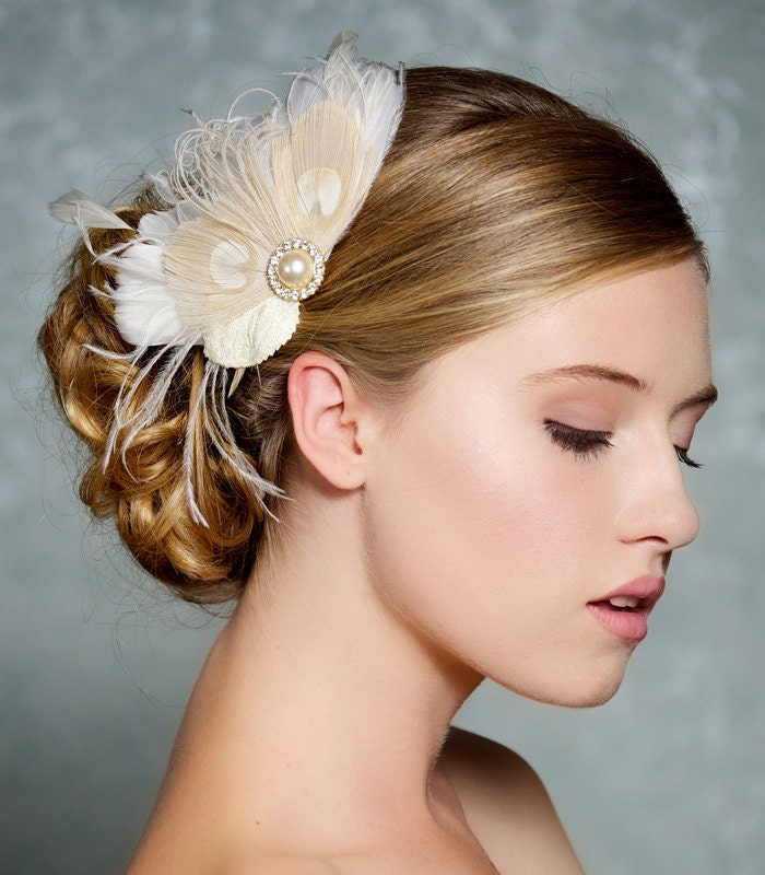 Ivory Bridal Hair Accessories Champagne Peacock By GildedShadows