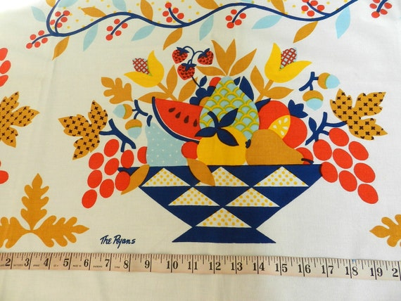 Vintage Fallani and Cohn Printed Cotton Tablecloth Fruit Basket and Flowers Motif