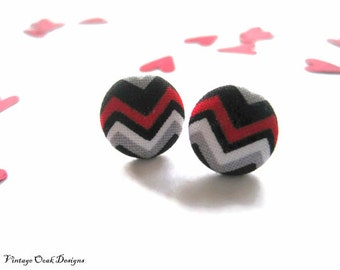 Valentine Studs, Red & Black Chevron Earrings, Red, Black and Grey Chevron Fabric Covered Button Earrings, Chevron Earrings, February Trends