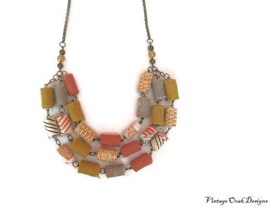 autumn sky - mustard yellow, rustic orange & grey fiber textiles necklace, layers of hand-rolled fiber beads, tribal design, fall fashion,