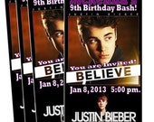 JUSTIN BIEBER BELIEVE 2013 Concert Ticket Invitation Printable Birthday Girl Party Custom Personalized Pretend play tickets