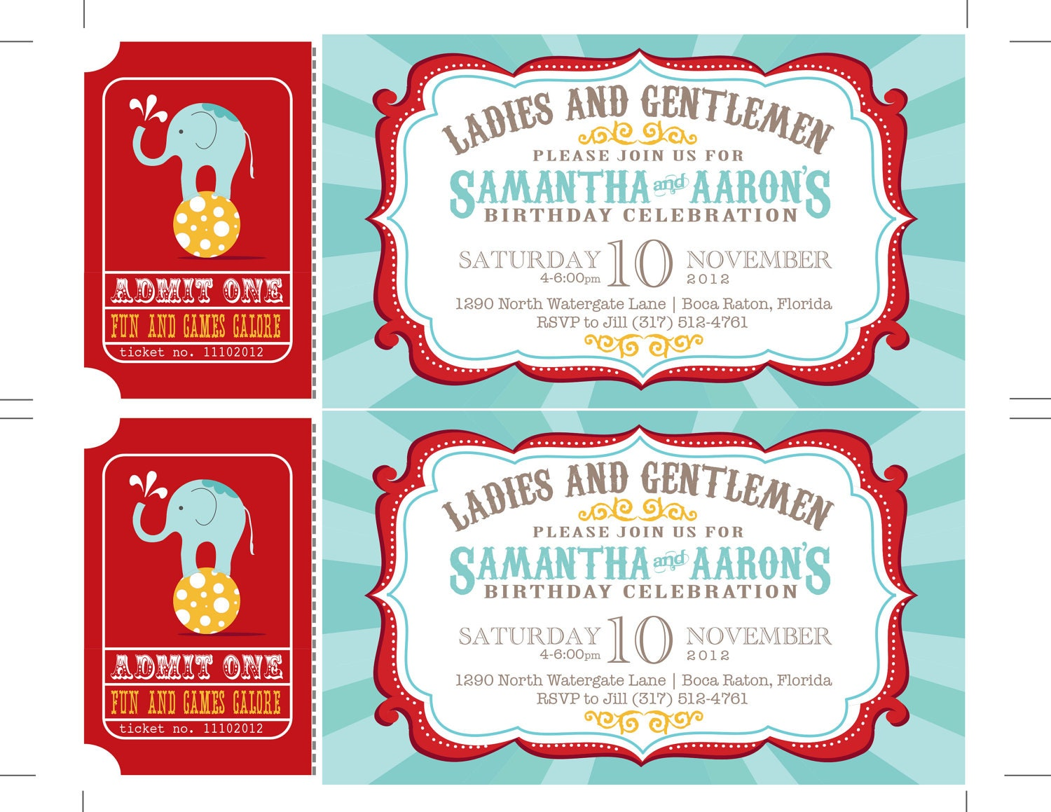 reserved carnival invitations circus invitations ticket