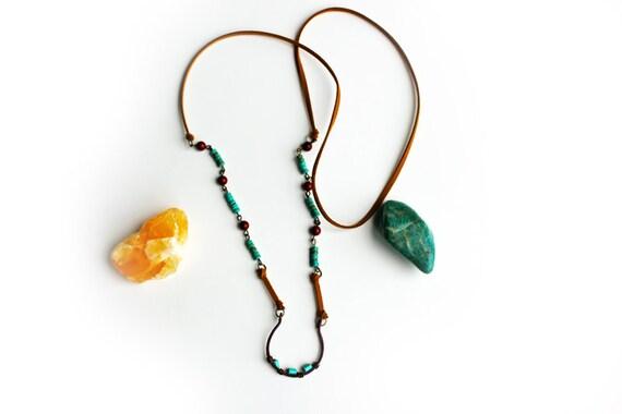 Beaded Copper Horseshoe Necklace. Boho Chic. Vegan Friendly.
