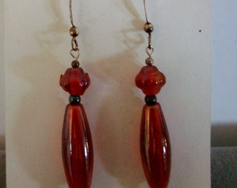 """classic shaped red drops on STERLING  HOOPS. 2"""" drop from ears"""
