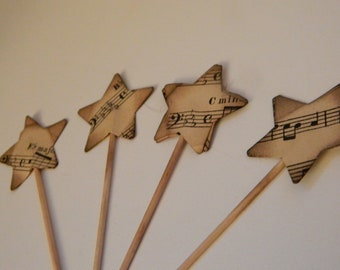 Vintage Musical stars- Set of 4 wooden picks - desserts, appetizers, kitchen, parties - Set of 4